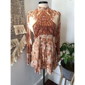 Free people floral print tunic with tie neck